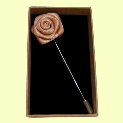 Bassin and Brown Rose Flower Jacket Lapel Pin - Biscuit