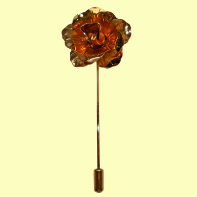 Bassin and Brown Rose Flower Metal Lapel Pin - Vintage Gold
