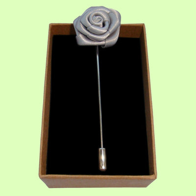 Bassin and Brown Rose Flower Jacket Lapel Pin - Grey