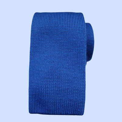Bassin and Brown Plain Knitted Wool Tie Royal Blue