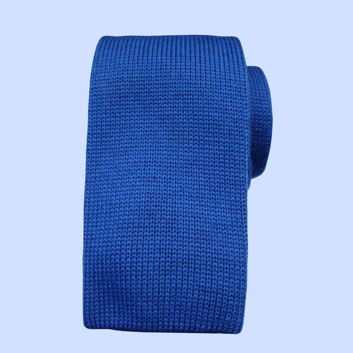 Bassin and Brown  - Plain Knitted Wool Tie Royal Blue