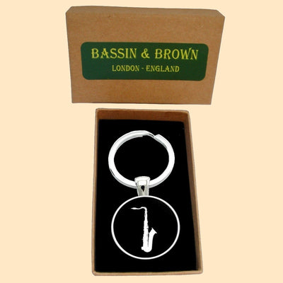 Bassin and Brown Saxophone Keyring - Black/White