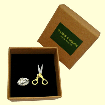 Bassin and Brown Scissors Jacket Lapel Pin - Silver and Gold