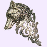 Bassin and Brown Wolf Jacket Lapel Pin  -Silver