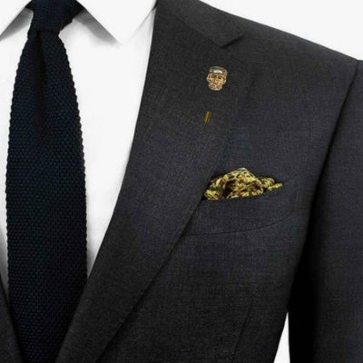 Bassin and Brown Skull Jacket Lapel Pin - Gold