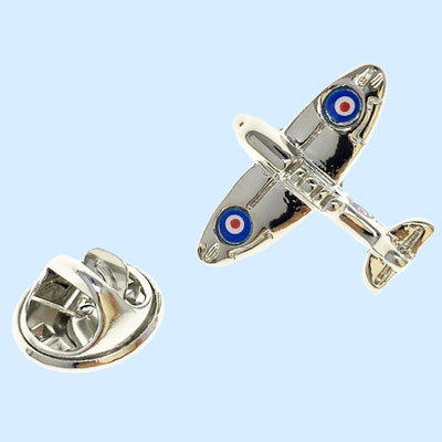 Bassin and Brown Spitfire Airplane Lapel Pin - Silver