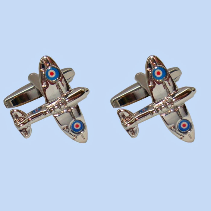 Bassin and Brown Spitfire Silver Roundel Cufflinks