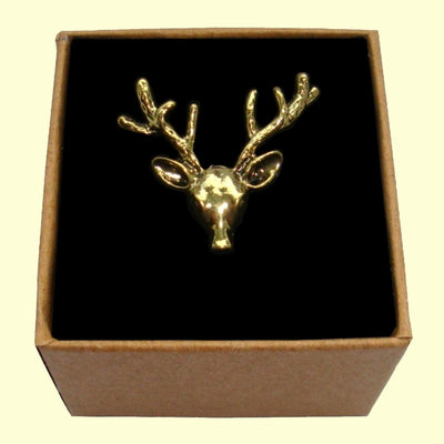 Bassin and Brown Stag Vintage Bronze Lapel Pin