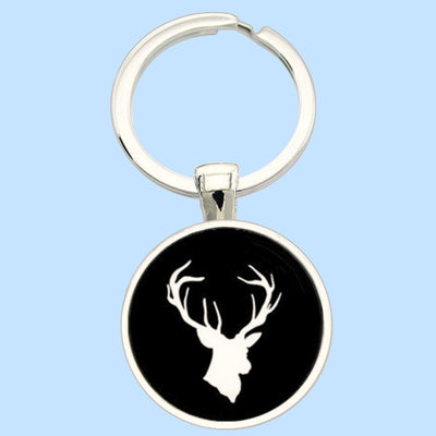 Bassin and Brown Stag Keyring - Black/White