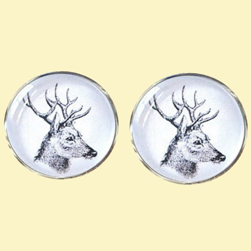Bassin and Brown Stags Head Side View Cufflinks - White/Black