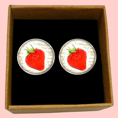 Bassin and Brown Strawberry Fruit Cufflinks - Red