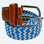 Bassin and Brown Striped Woven  Elasticated  Belt - Blue/White
