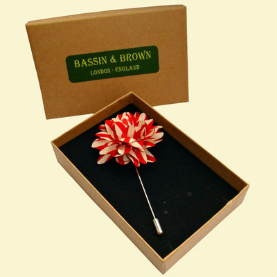 Bassin and Brown Stripe Flower Jacket Lapel Pin - Red and Beige