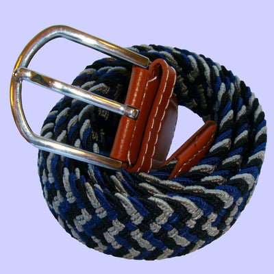 Bassin and Brown Elasticated Woven Belt - Three Colour Stripe - Navy/Blue/Grey