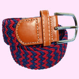 Bassin and Brown Stripe Woven Stretch Belt - Wine/Navy