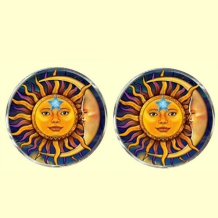 Bassin and Brown Sun Face and Crescent Moon Cufflinks  - Yellow/Blue