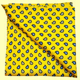 Bassin and Brown Yellow Teardrop Paisley Silk Pocket Square