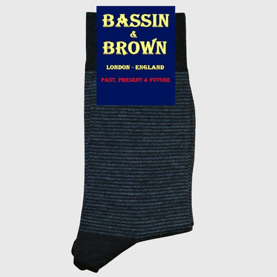 Bassin and Brown Thin Striped Men's Wool Socks - Black/Grey