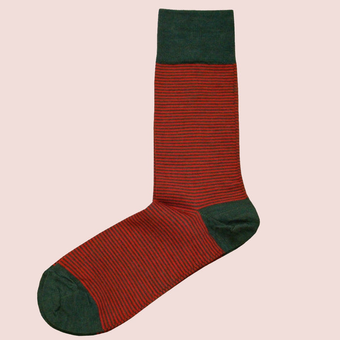 Bassin and Brown Thin Striped Men's Wool Socks - Red/Green