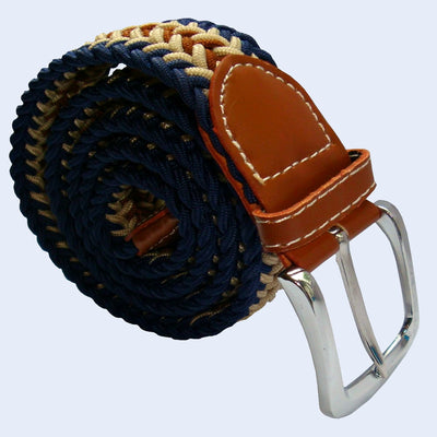 Bassin and Brown - Arrow Stripe  - Woven Elasticated Belt - Navy, Beige and Brown