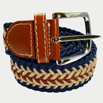 Bassin and Brown Arrow Stripe Woven Elasticated Belt - Navy, Beige and Brown