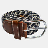 Bassin and Brown Triple Stripe Woven Belt -Black,White and Grey