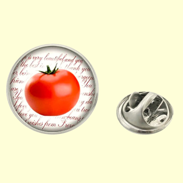 Bassin and Brown Tomato Fruit Jacket Lapel Pin