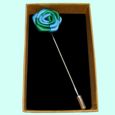 Bassin and Brown - Two Colour Rose - Jacket Lapel Pin - Blue and Green