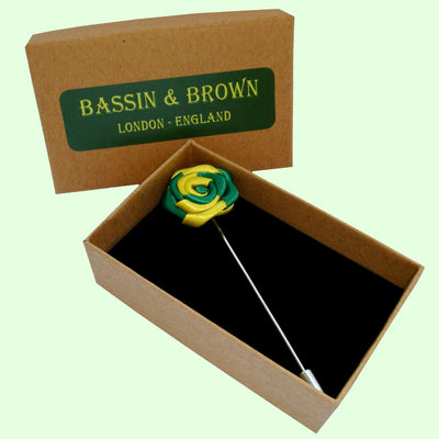 Bassin and Brown Yellow and Green Rose Jacket Lapel Pin