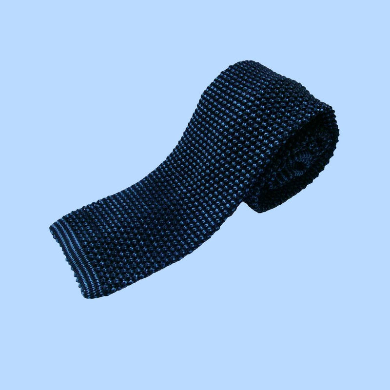 Bassin and Brown Two Tone Knitted Silk Tie Navy/Blue