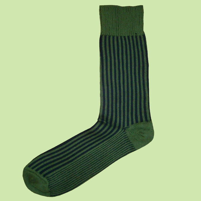 Bassin and Brown Vertical Stripe Men's Socks - Green/Navy