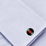 Bassin and Brown Vinyl Disc Cufflinks - Black/Red