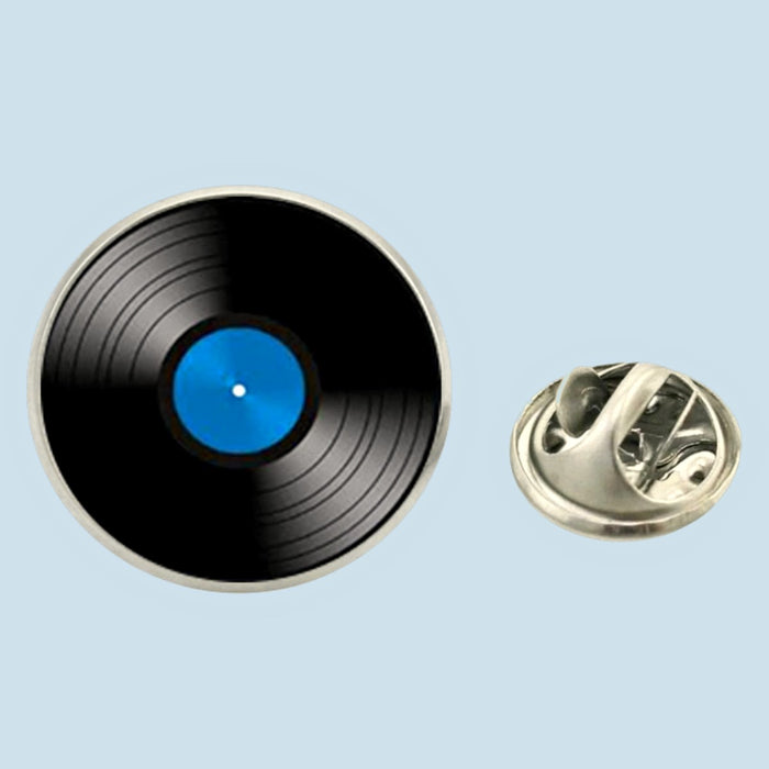 Bassin and Brown Vinyl Disc Lapel Pin - Blue.Black
