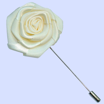 Bassin and Brown Rose White Jacket Lapel Pin - 4cm Diameter