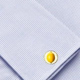 Bassin and Brown Lemon Fruit Cufflinks - Yellow and White