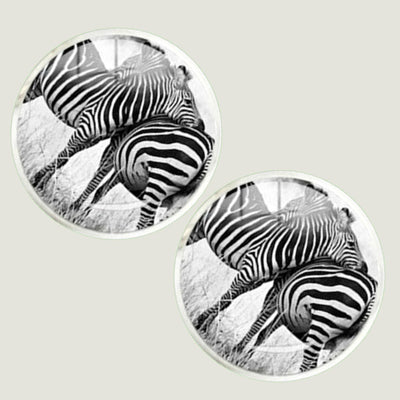 Bassin and Brown Zebra Cufflinks - Black and White