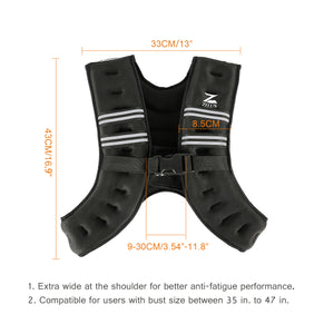 Weighted Vest for Strength Training and Running 20lbs Black