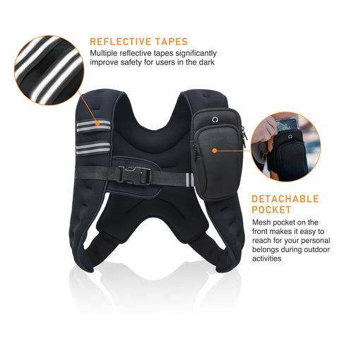 Weightlifting Running Muscle Building Fitness Strength Training Weight Loss ZELUS Weighted Vest 20lbs// 16lbs// 12lbs// 8lbs// 6lbs// 4lbs Weight Vest with Reflective Stripe for Workout