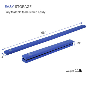 Folding Gymnastics Balance Beam Blue
