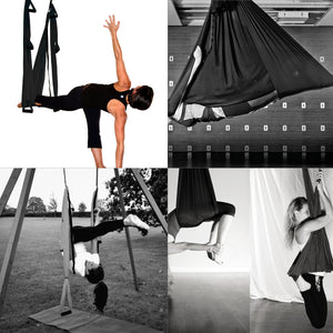 Aerial Silk Yoga Swing Set, Black