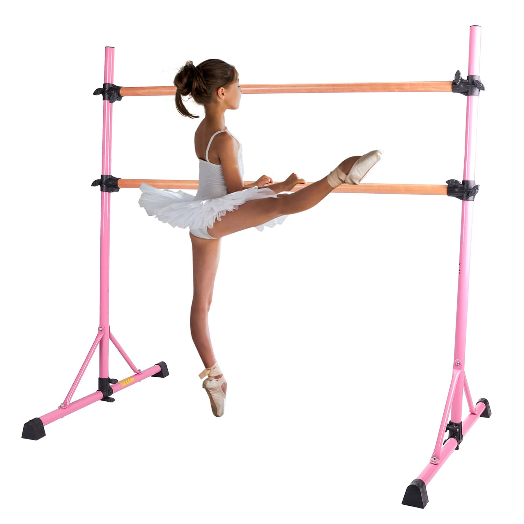 Adjustable Free Standing Kids Ballet Bar Pink