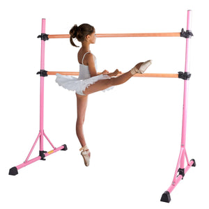 adjustable free standing ballet barre for home pink