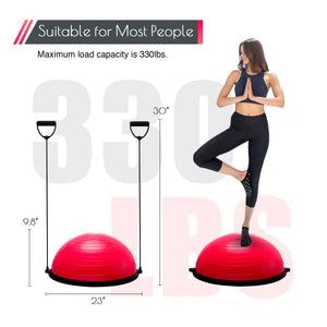 Exercise Half Balance Ball with Resistance Band Pink