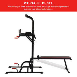 Power Tower Multifunctional Pull Up Dip Station with Sit Up Bench, Black