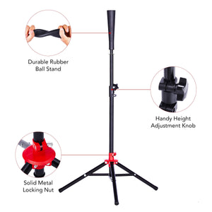 Baseball Tee, Height Adjustable Baseball Softball Tripod for Batting Training Practice, Portable Hitting Batting Tee