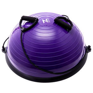 Exercise Half Balance Ball with Resistance Band Purple