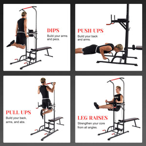 Multifunctional Pull Up Dip Station with Sit Up Bench