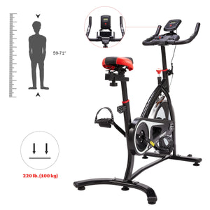 Adjustable Exercise Bike, Fitness Equipment For Home Workouts, 220lb Capacity