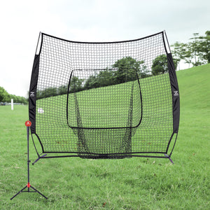 7x7ft Baseball Softball Practice Net with Carry Bag and Bow Frame, Black