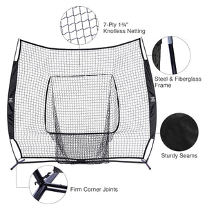 baseball net with carry bag and bow frame